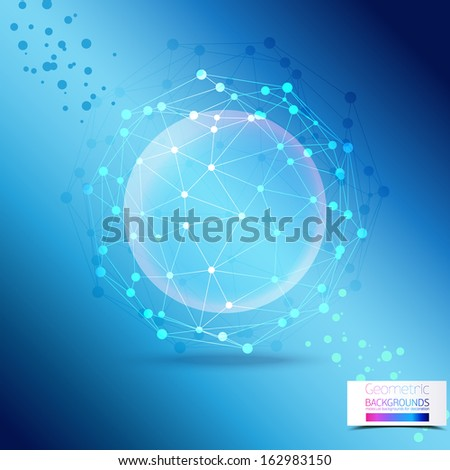 Blue Abstract Mesh Background with the scope of the molecules, the molecules in the circle.. Molecule And Communication Background. Vector Illustration, Graphic Design Useful For Your Design  - stock vector