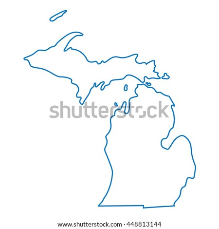 blue abstract outline of Michigan map