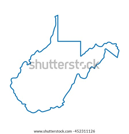 Blue Abstract Outline West Virginia Map Stock Vector - West virginia map