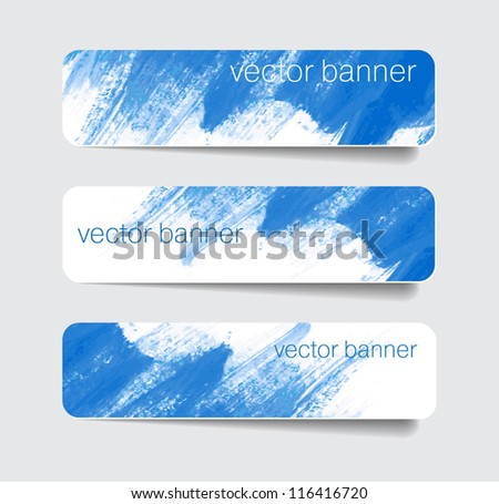 Blue abstract paper banners / stickers / badges with hand painted brush strokes background - stock vector