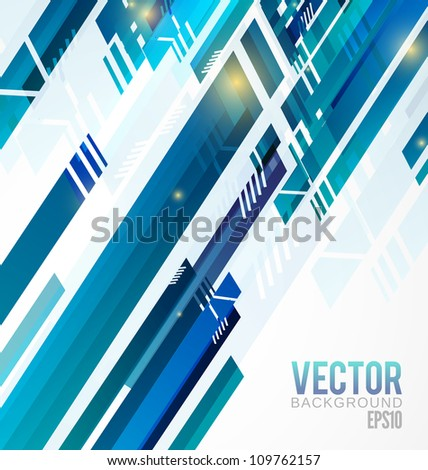 blue Abstract shapes background with yellow lights