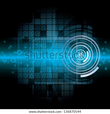 Blue abstract tech background on black background - stock vector