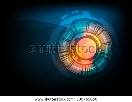 Blue abstract tech circles background design with light effect  - stock vector