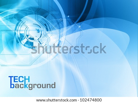 blue abstract tech vector background - stock vector