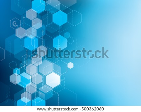 Blue abstract technology background vector with hexagons