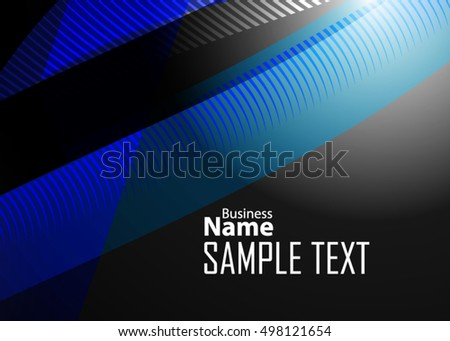 Blue abstract template for card or banner. Metal Background with waves and reflections.