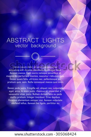 Blue abstract triangle geometrical background in low poly style with copyspace and bokeh. Vector eps10. - stock vector