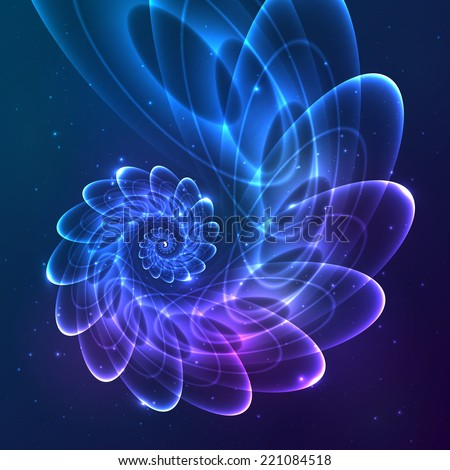 Blue abstract vector fractal cosmic spiral - stock vector