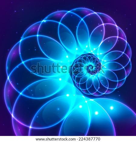 Blue abstract vector fractal cosmic spiral - stock vector