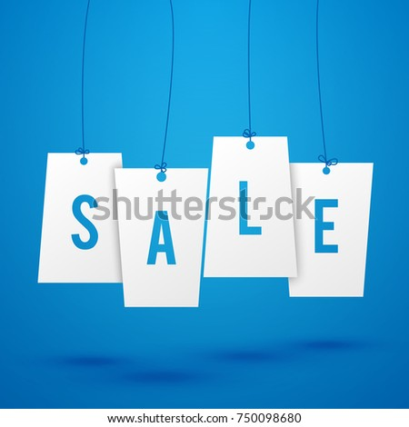 Blue Advertisement Background With Word Sale Written On White Labels Flat Vector Illustration