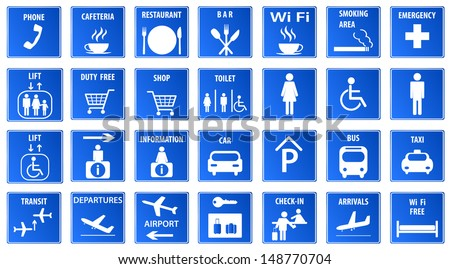 Blue Airport Icons Set.Vector illustration - stock vector