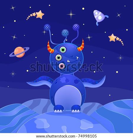 Blue Alien Standing on Planet in Open Space. Vector Illustration - stock vector