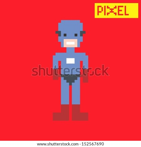 blue american hero pixel character - stock vector