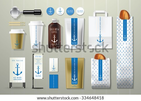 Blue anchors coffee shop corporate identity template design set on wood background - stock vector
