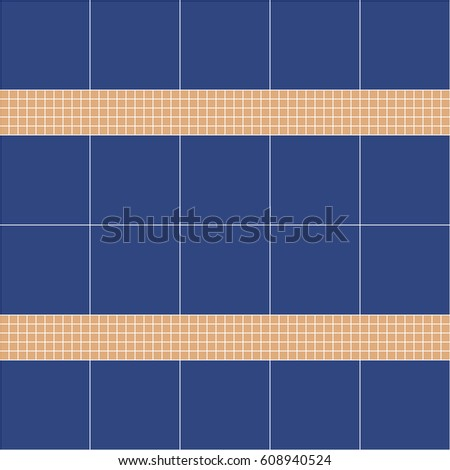 Blue and beige ceramic tile mosaic. Vector seamless pattern. Design for cover, textile, pool, kitchen, bathroom.