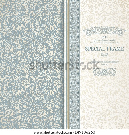 Blue and beige vintage background with seamless pattern - stock vector