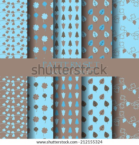 blue and brown nature seamless pattern set - stock vector