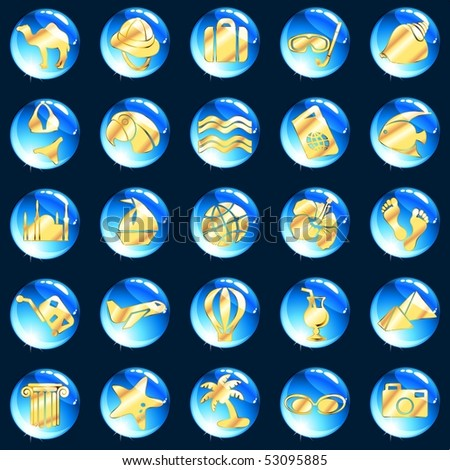 Blue and gold exotic vacation icons (Eps10); jpg version also available - stock vector