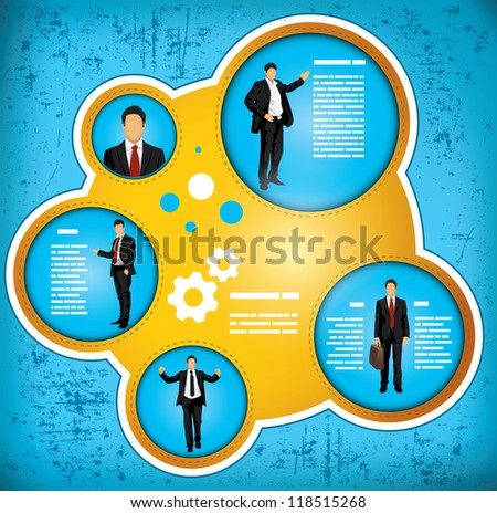 Blue and gold grunge effect workflow chart depicting a businessman in various roles, with space for insertion of your own text - stock vector