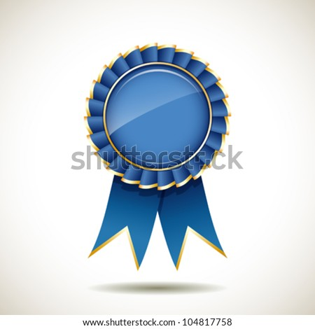 Blue and gold ribbons award, vector illustration - stock vector