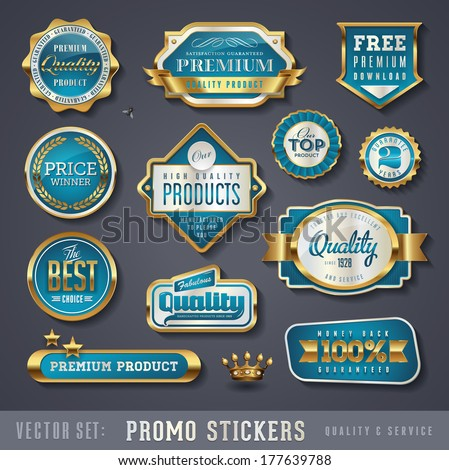 blue and golden promo stickers and quality seals - stock vector