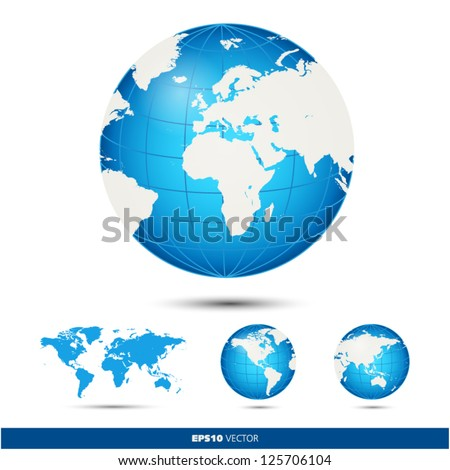 Blue and gray globe