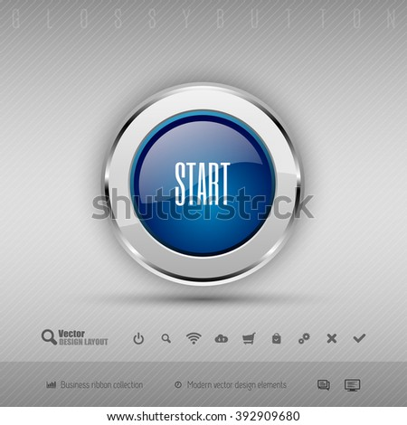 Blue and gray glossy button with set of icons. Vector business design elements. - stock vector