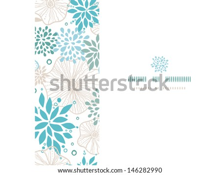 Blue and gray plants frame horizontal seamless pattern background - stock vector