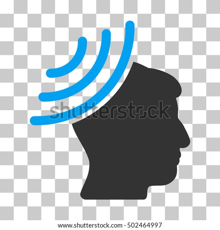 Blue And Gray Radio Reception Mind toolbar icon. Vector pictogram style is a flat bicolor symbol on chess transparent background.