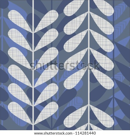 blue and gray retro leaves on dark background  seamless pattern - stock vector