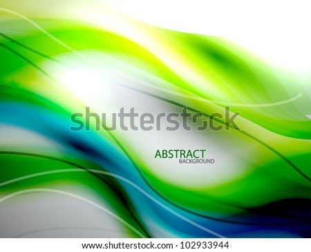 Blue and green blurred smooth wave abstract background - stock vector