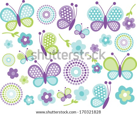 Blue and Green Butterflies - stock vector