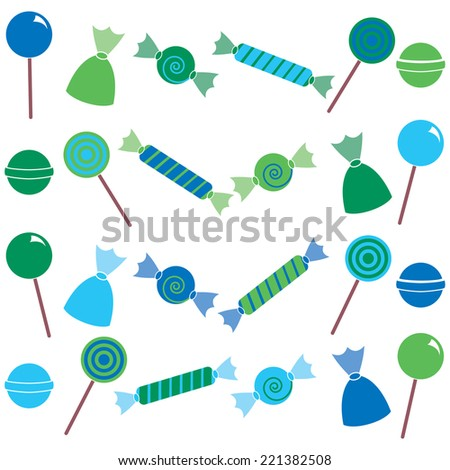 Blue and Green Candy Clip Art Set. Includes blue and green sweets graphics created using vector software. - stock vector