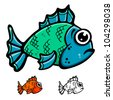 Blue and green fish cartoon illustration vector design - stock vector