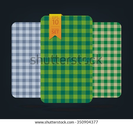 Blue and green gingham Patterns and buffalo check plaid patterns.