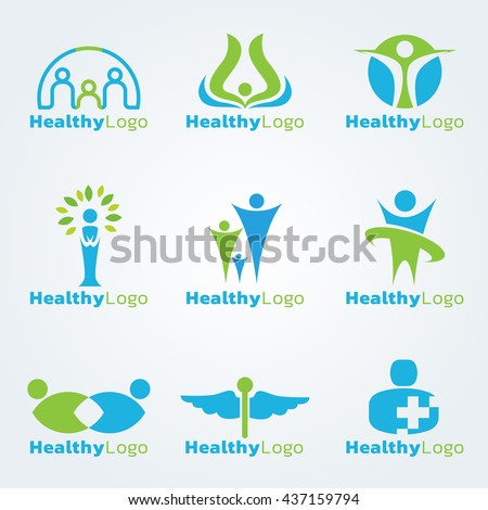 Blue and green Healthy logo vector set design
