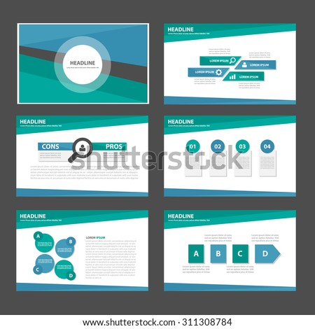 Blue and green multipurpose infographic presentation template flat design set for advertising marketing brochure flyer leaflet - stock vector