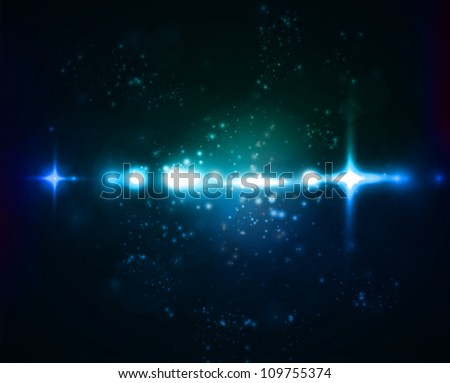 Blue and green nebula on black space background. Vector illustration - stock vector