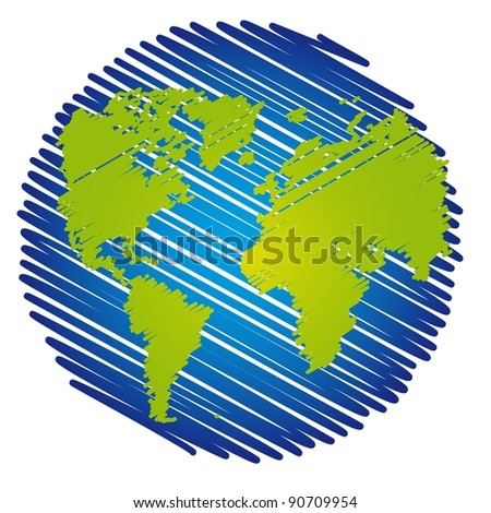 blue and green scrawled planet over white background. vector - stock vector