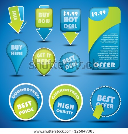 Blue and green special offer and sale labels and stickers with shadow