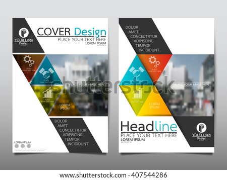Blue Green Square Annual Report Brochure Stock Vector 407544286