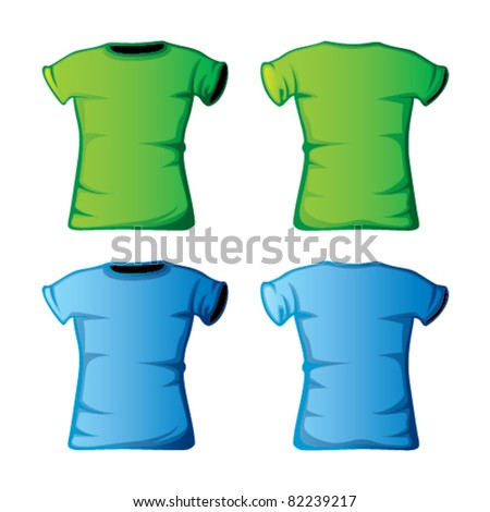 blue and green t-shirts