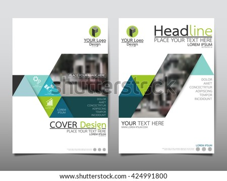 Blue Green Triangle Annual Report Brochure Stock Vector