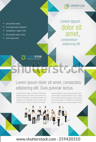 Blue and green template for advertising brochure with business people - stock vector