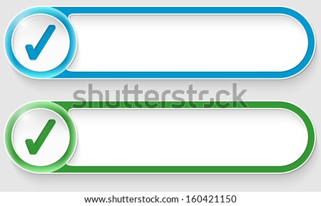 blue and green vector abstract buttons with check box - stock vector
