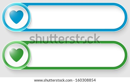 blue and green vector abstract buttons with heart - stock vector