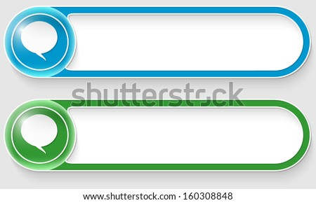 blue and green vector abstract buttons with speech bubbles - stock vector