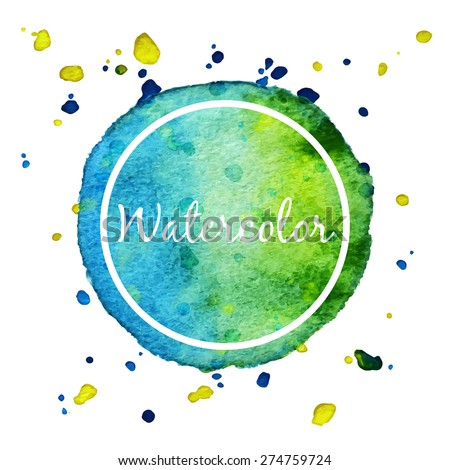 Blue and green watercolor splash circle background - stock vector