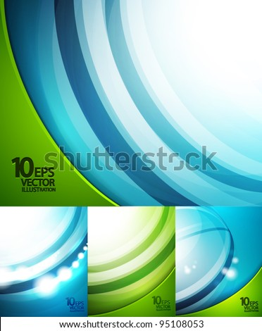 Blue and green waves background set - stock vector