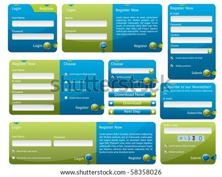 Blue and green web form template - stock vector